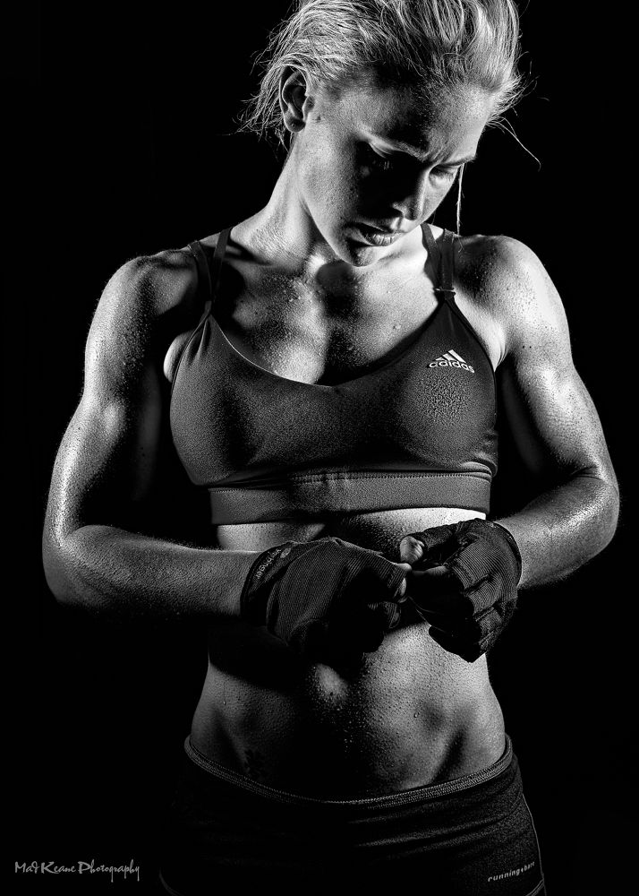 Photo in Portrait #female #woman #blonde #black #white #b/w #strong #fit #gym #fighter #sweat #fight #gloves #muscles #physique #toned