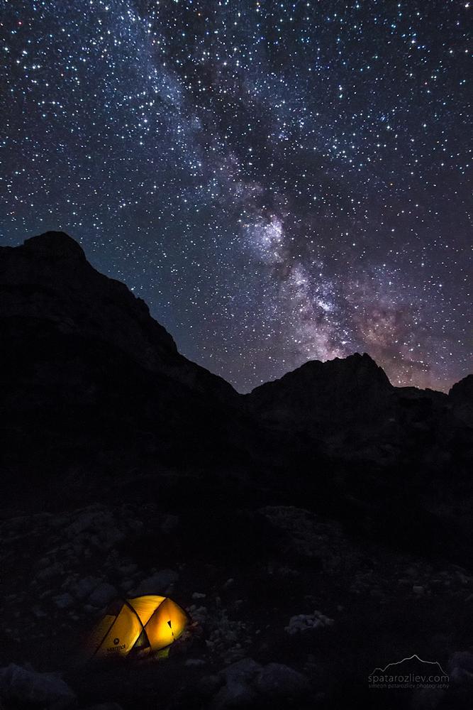 Photo in Landscape #milky way #sky #night #tent #durmitor #mountain #montenegro #peak #stars #light #silhouette