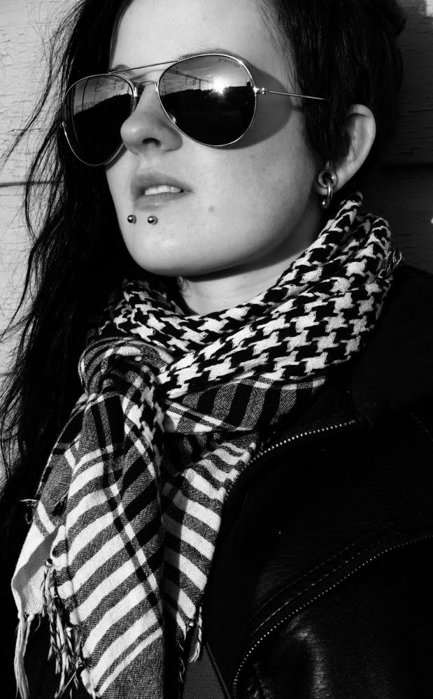 Photo in Black and White #sunglasses #woman