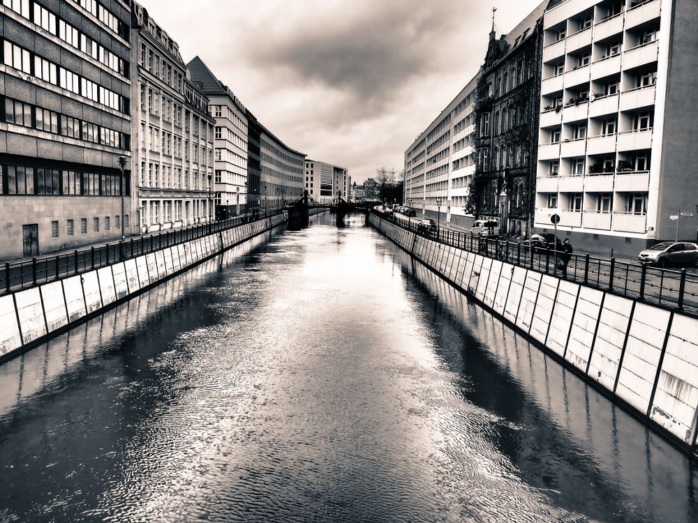 Photo in Black and White #berlin #channel #black & white #water