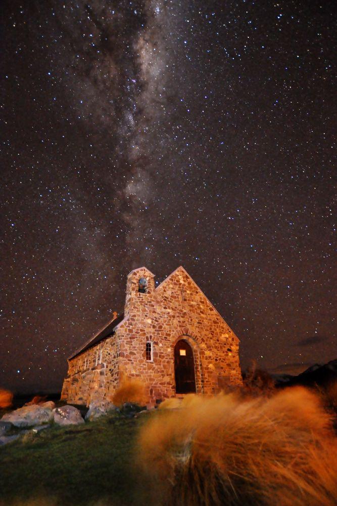 Photo in Astrophotography #lake tekapo #church #night #stars #chimney #stone #wind #blur #long #exposure #brian aston #grass #rock #art #youpic2013 #ypa2013