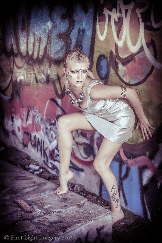 Photo in Portrait #graffitti #girl #woman #silver #unusual #legs