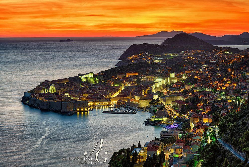 Photo in Landscape #hrvatska #croatia #dalmacija #dalmatia #dubrovnik #adriatic #jadran #adriatic sea #sea #mediterranean #shore #coast #croatian #city #walled #walls #houses #lights #sunset #dusk #red #fiery #hot #horizon #clouds #cloudscape #seascape #travel #summer #scenic #scenery #landscape