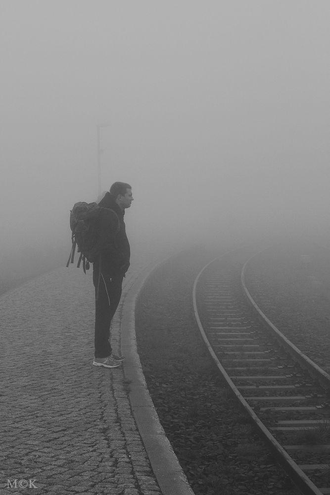 Photo in Street Photography #train #fog #man