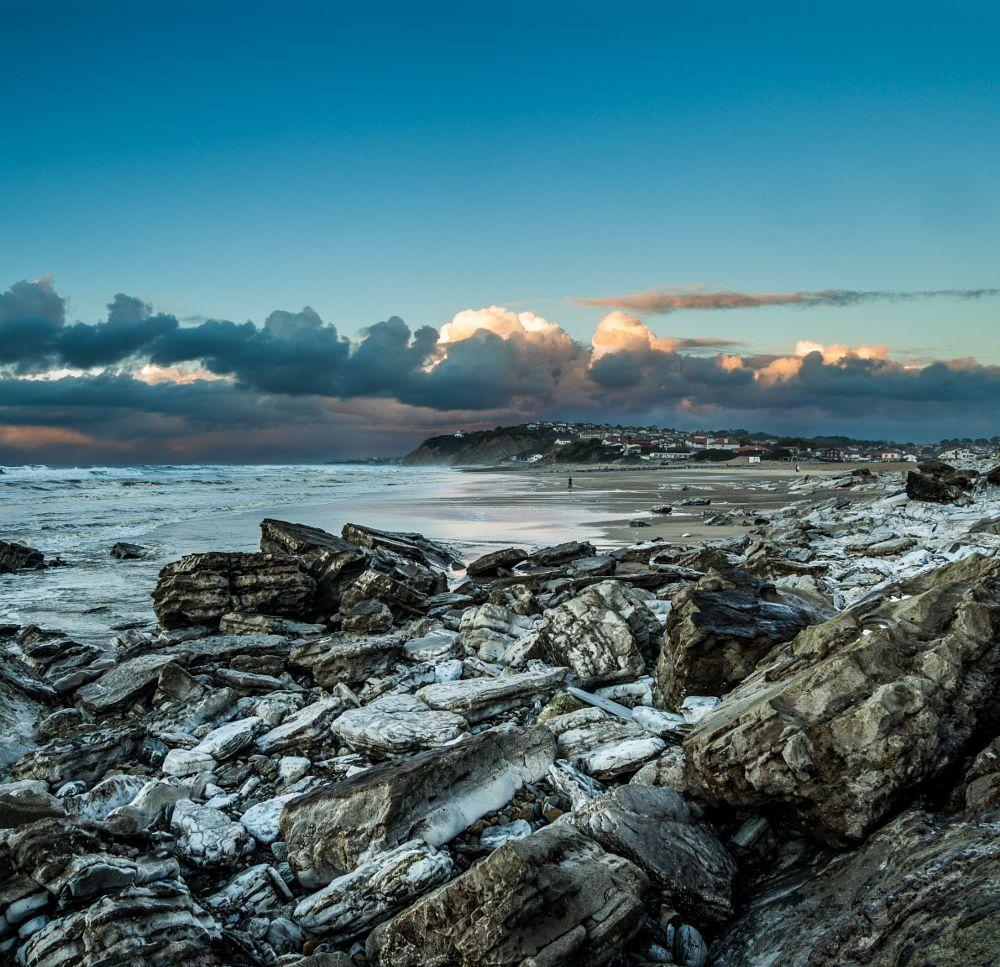 Photo in Landscape #rocks #beach #seascape #landscape #sand #sea #clouds