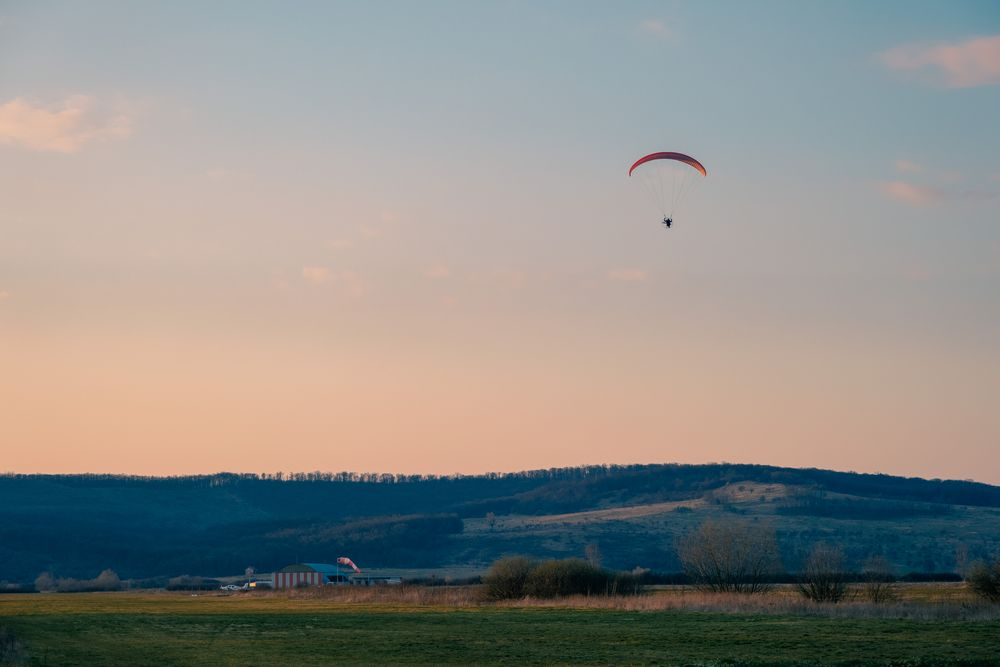 Photo in Random #sport #paragliding #parachute #flying #mid-air #sunset #sky #nature #outdoors #leisure activity #one person #horizontal #fuji