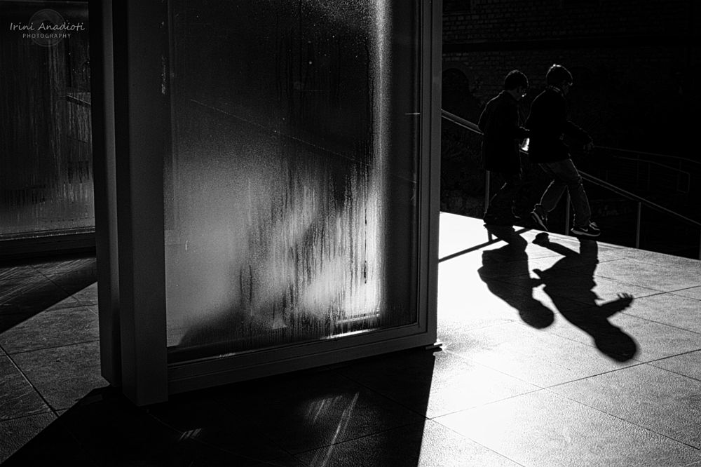 Photo in Black and White #acropolis museum #greece #children #athens #shadow #glass #walking #morning #black and white #silhouette