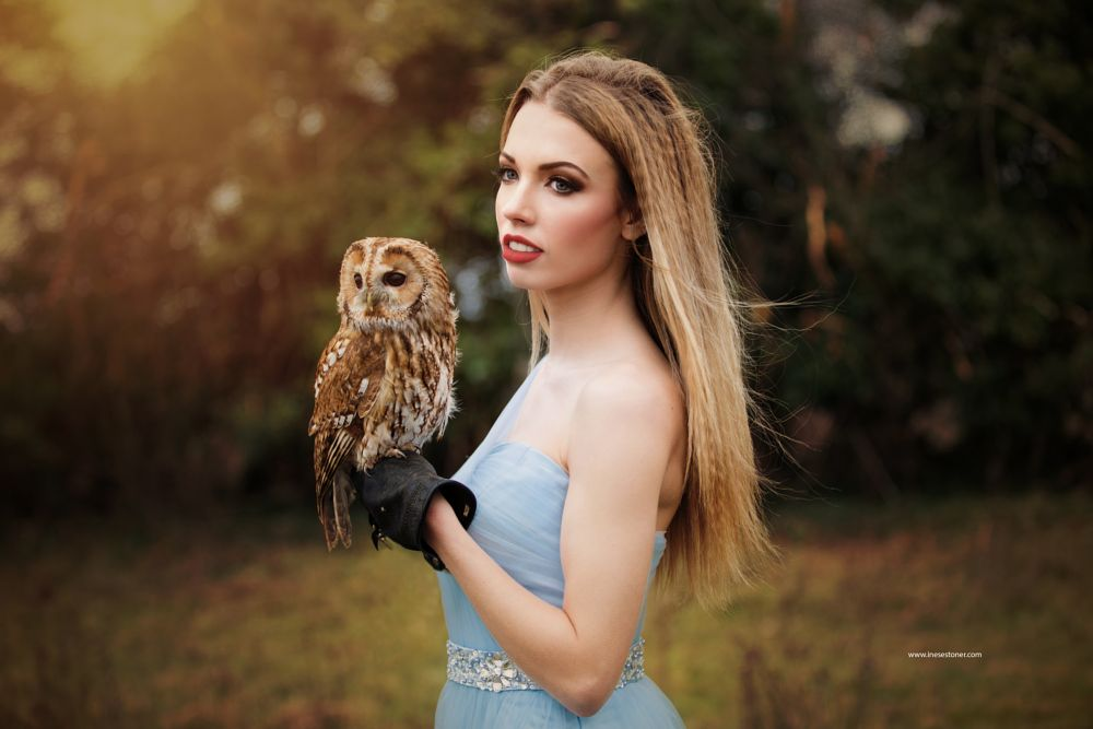Photo in Portrait #girl #owl #forest