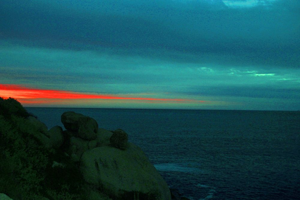 Photo in Nature #sunset #sea #boulders
