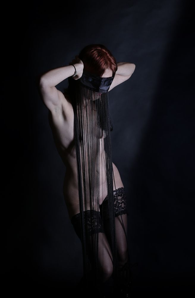 Photo in Nude #hybryds #black #wires #blindfold