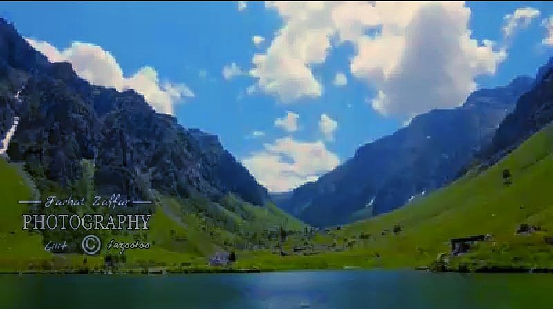 Photo in Nature #green meadows #rainbow lake #gilgit/pakistan #mountain range