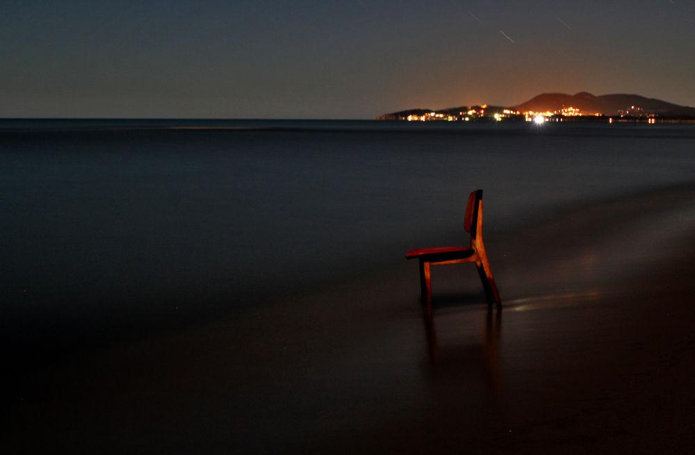 Photo in Landscape #chair #night #coast #shore #sea #land #landscape #ulcinj #montenegro #ada #bojana