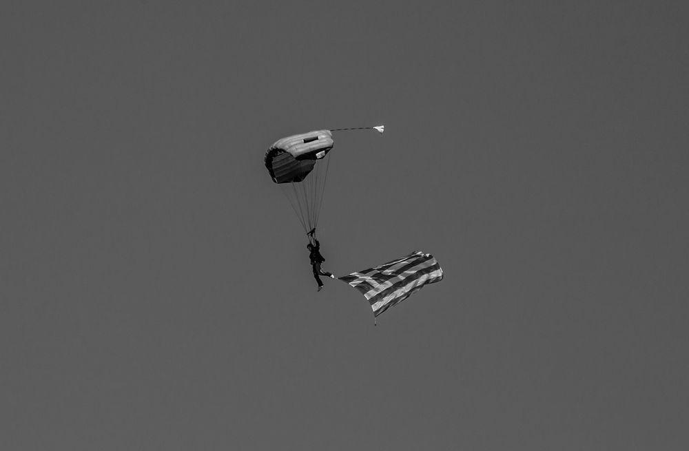 Photo in Black and White #monochrome #black and white #b&w #flag #parachute #1821-2021 #outdoors #μονόχρωμη