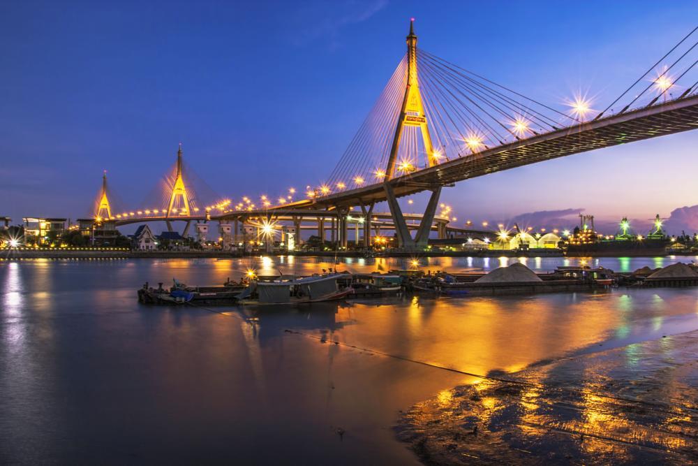 Photo in Cityscape #bhumibol bridge #life #river #bangkok #boat #landscape #lighting #thailand #transportation #twilight