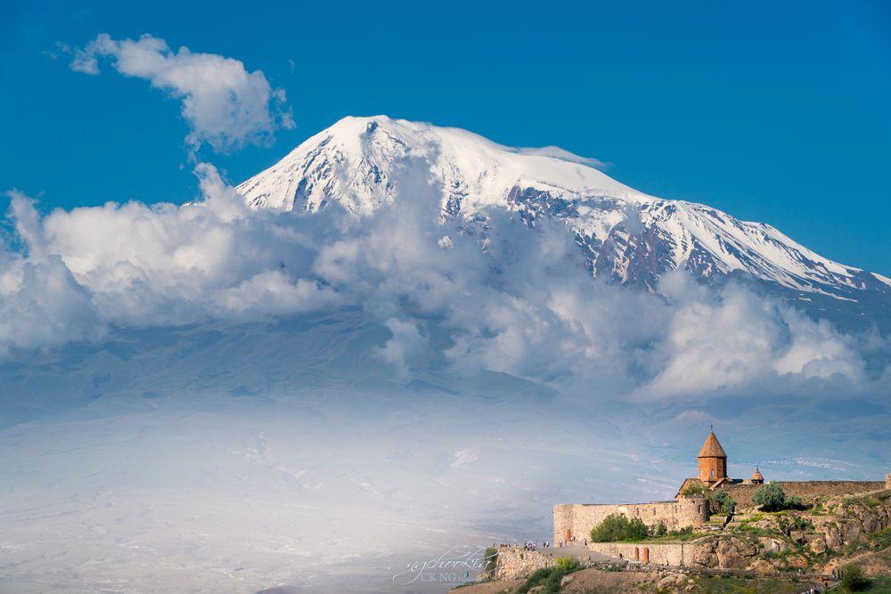 Photo in Landscape #khor virap monastery #armenian #monastery #snow mountain #travel #sunny day #church