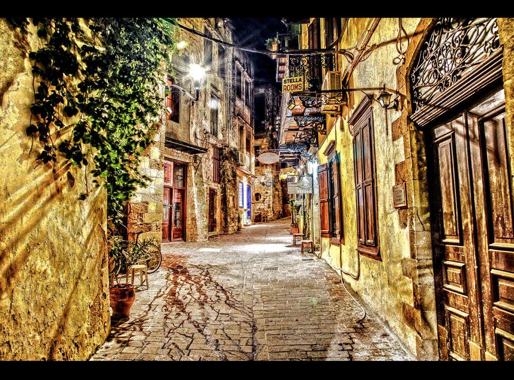 Photo in Cityscape #crete #city #greece #island #lighting #night #street #town