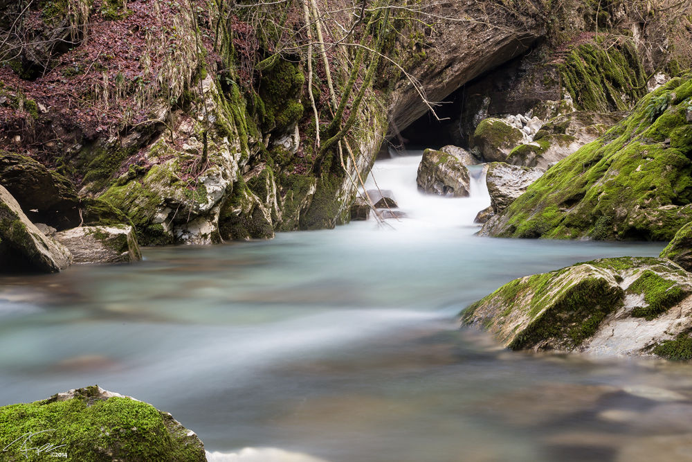 Photo in Nature #river #flow #water #nature #green #red #long exposure #nd filter #rocks #grass #isola santa #tuscany #italy
