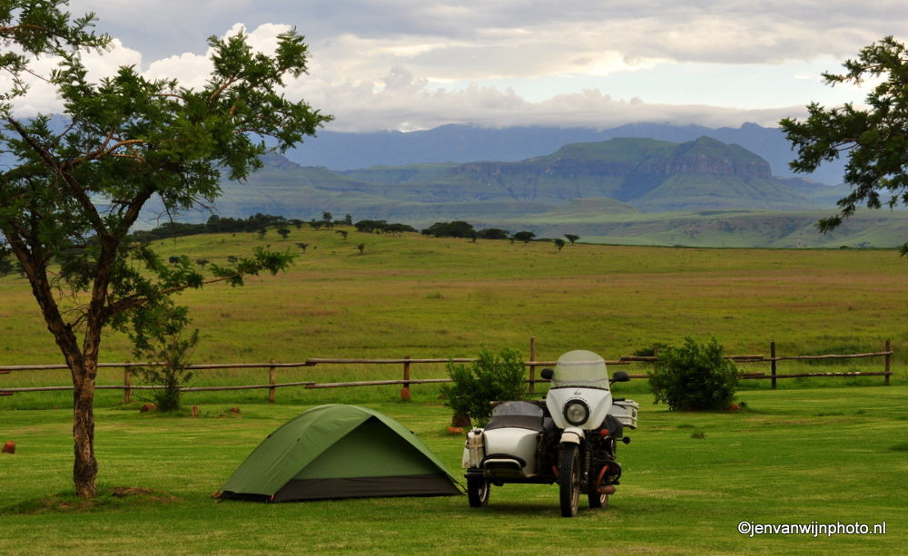 Photo in Landscape #motor bike #drakensberg #mountains #camping #tent #nature #green #campsite
