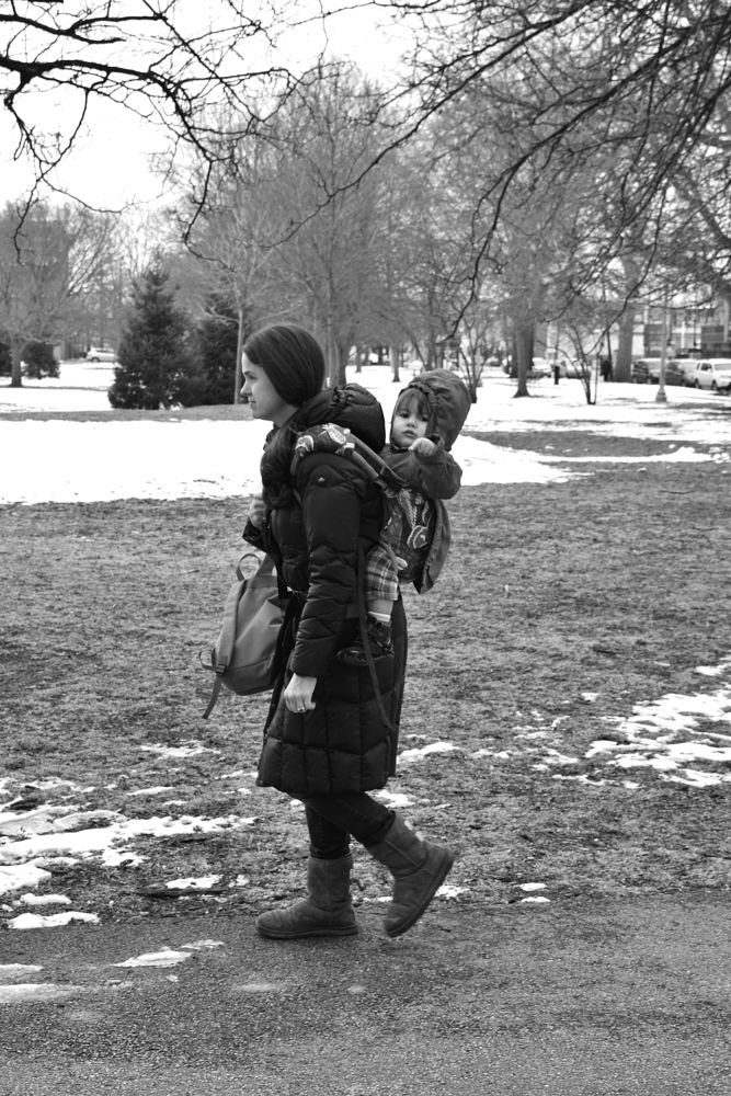 Photo in Street Photography #bw #black and white #mother and child #candid #street #chicago