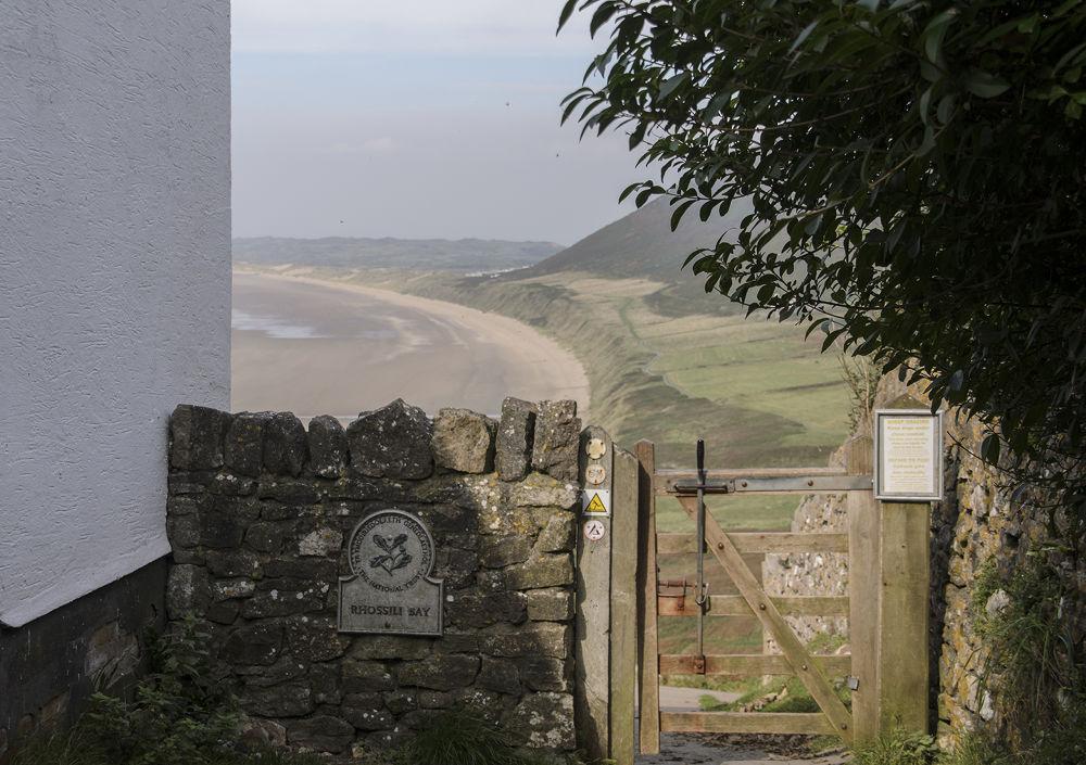 Photo in Landscape #gate #beach #cliffs #sea