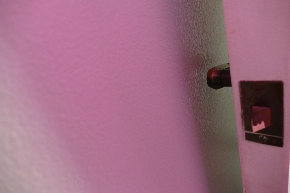 Photo in Abstract #minimalism #minimalist #door #knob #pink #white #room #bedroom #bronze #old #interior #still life