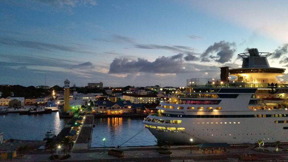 Photo in Landscape #nassau #bahamas #dusk #cruise ship #dock #ship #sunset #island #waterfront #new providence