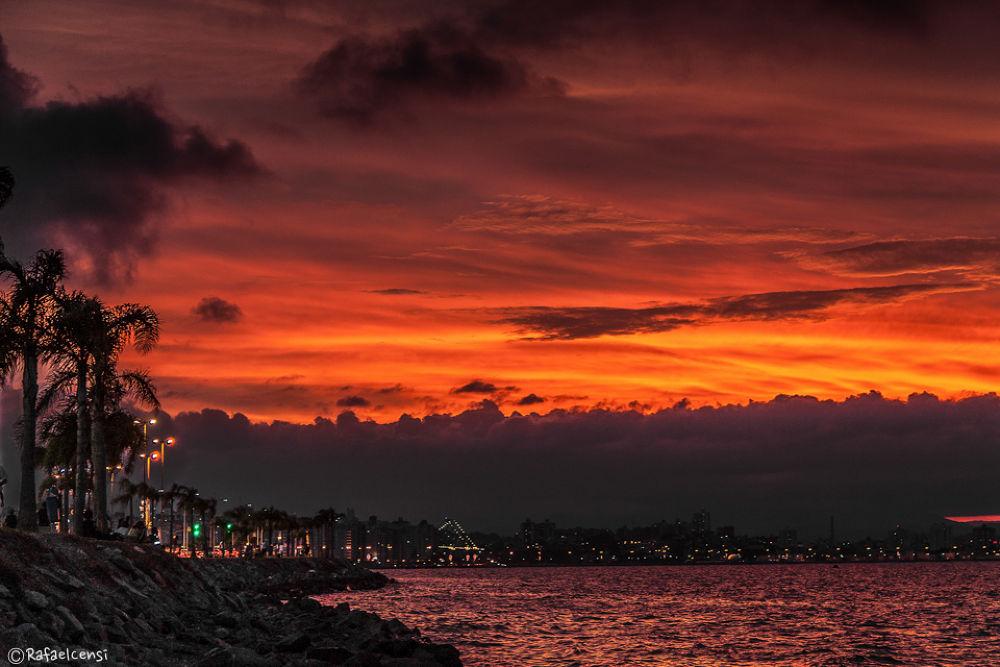 Photo in Cityscape #floripa #florianopolis #sunset #por do sol #brasil #sc #lights