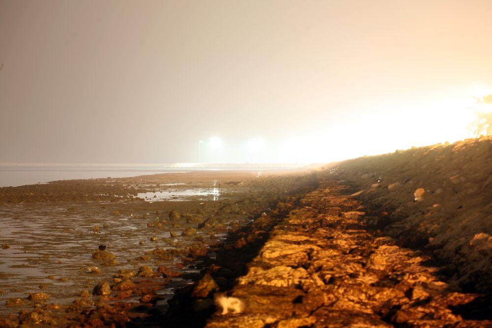 Photo in Cityscape #sea #beach #rocky beach #qatif #misty #night #night foto #night photo #night photography #landscape #seascape