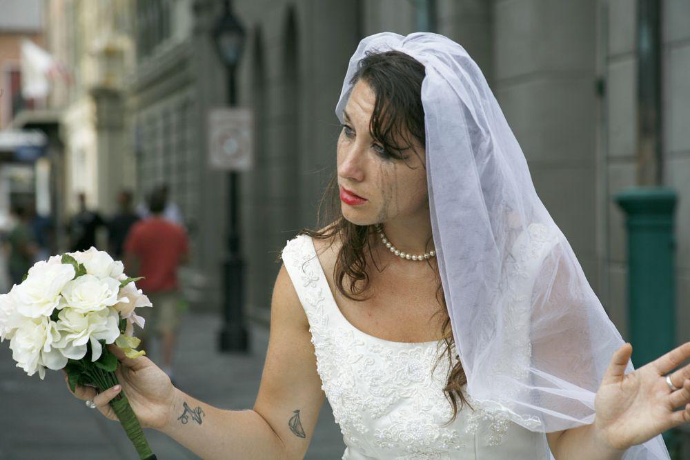 Photo in Portrait #bide #devorce #portrait #sad #sarrow #sadness #bide dress #white dress #people #woman #tears #performer #street performer #new rleans #louisiana #emosion