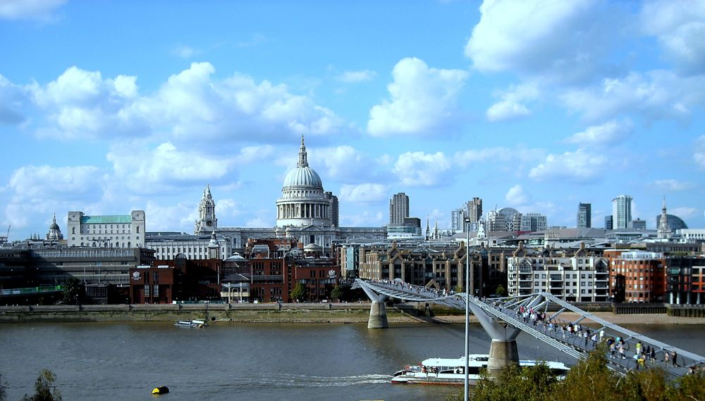 Photo in Cityscape #millenium bridge #st.poul cathedral #from #tate gallery #london #uk
