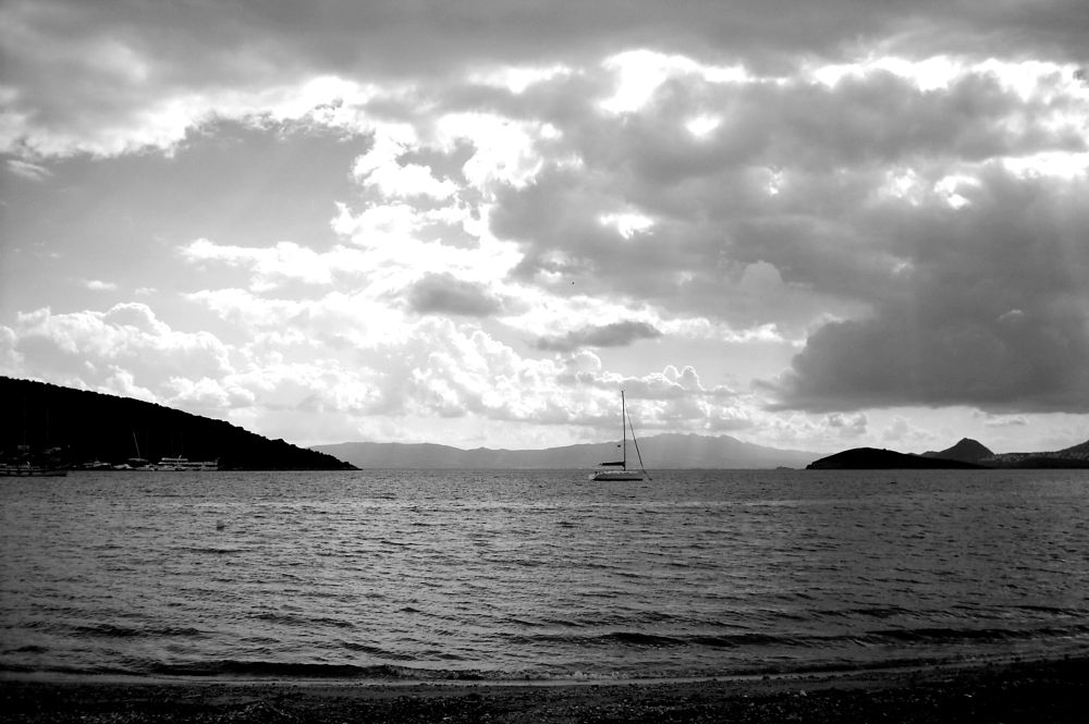 Photo in Black and White #b&w #after sunset view #from #bitez bay #bodrum #mugla #turkey
