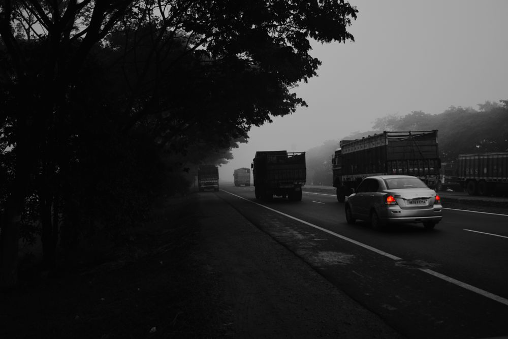 Photo in Landscape #highway #fog #cars