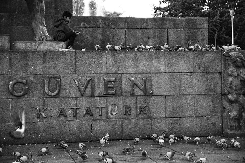Photo in Black and White #ankara #güven park #child #pigeon #animal #trust