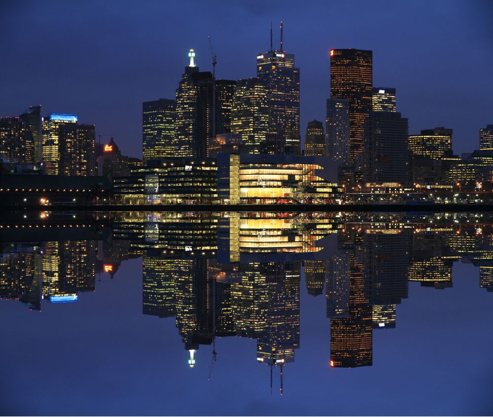 Photo in Landscape #landscape #waterscape #reflection #toronto #water #city #cityscape #night #long exposure #lights #architecture #buildings