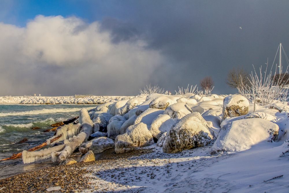 Photo in Landscape #landscape #waterscape #snow #ice #beach #cold #storms #rocks #harbor #stones #pebbles