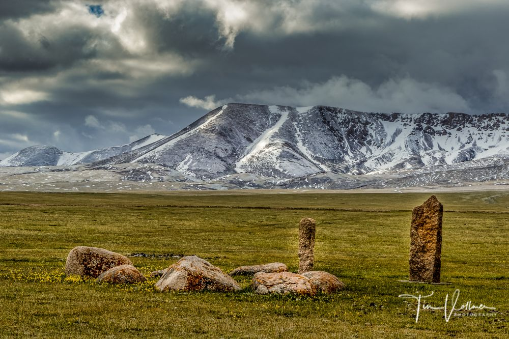 Photo in Travel #stones #mountain #field #grass #snow #clouds #sky #kyrgyzstan
