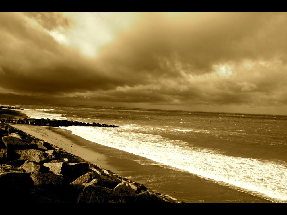 Photo in Landscape #beach #water #beautiful #sea #nature #landscape #sun #cloud #sepia