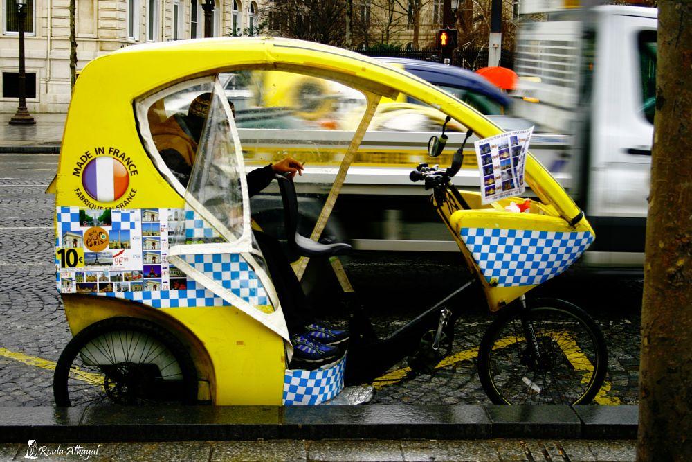 Photo in Street Photography #paris #street #car #yellow #smoke #france #parking #street photography