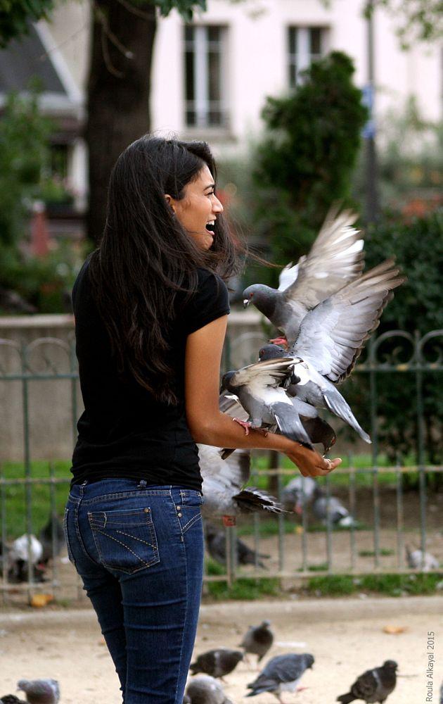 Photo in People #girl #bird #dove