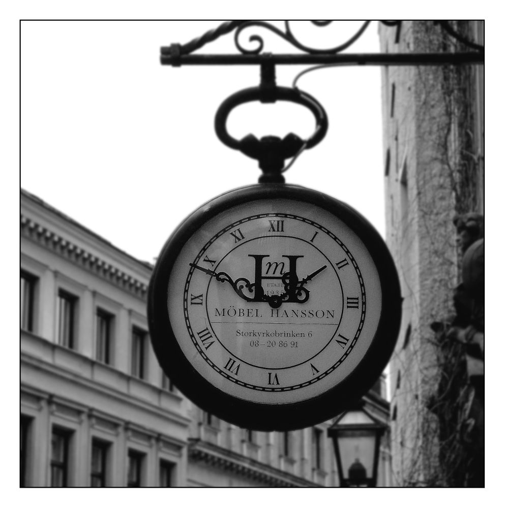 Photo in Black and White #stockholm #sweden #old town #city #watch #clock #black and white #b & w #black & white #nikon #d200 #nikon d200