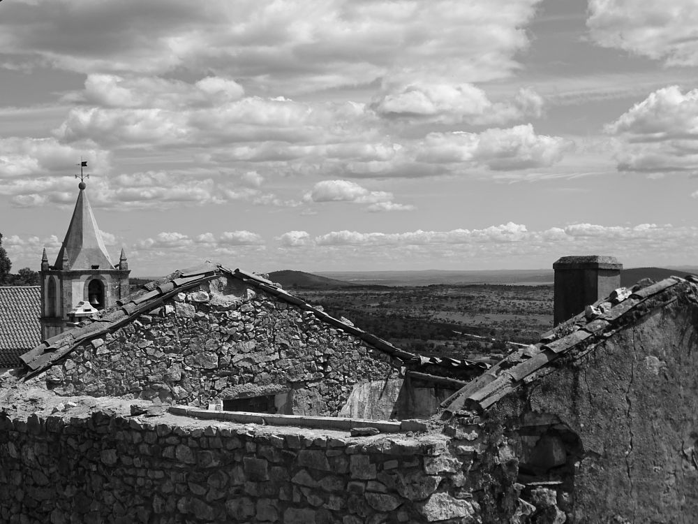 Photo in Black and White #valley #landscape #church #old village #b&w #clouds