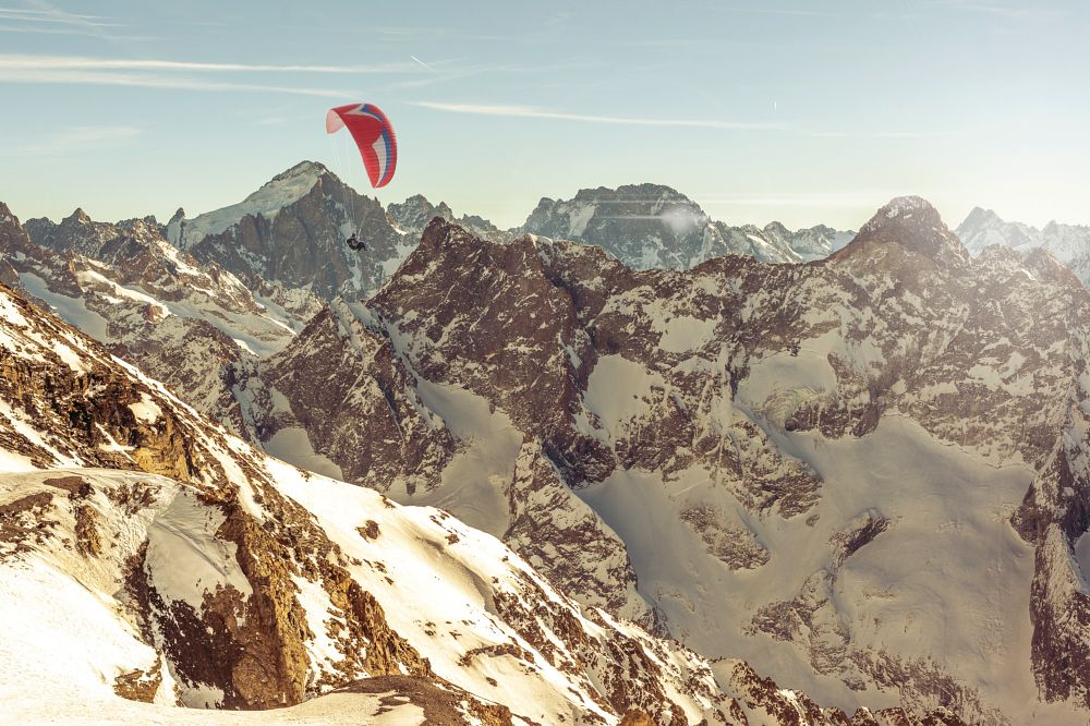 Photo in Landscape #mountains #flight #paraglide #alps #french #winter #sports #sun #extreme