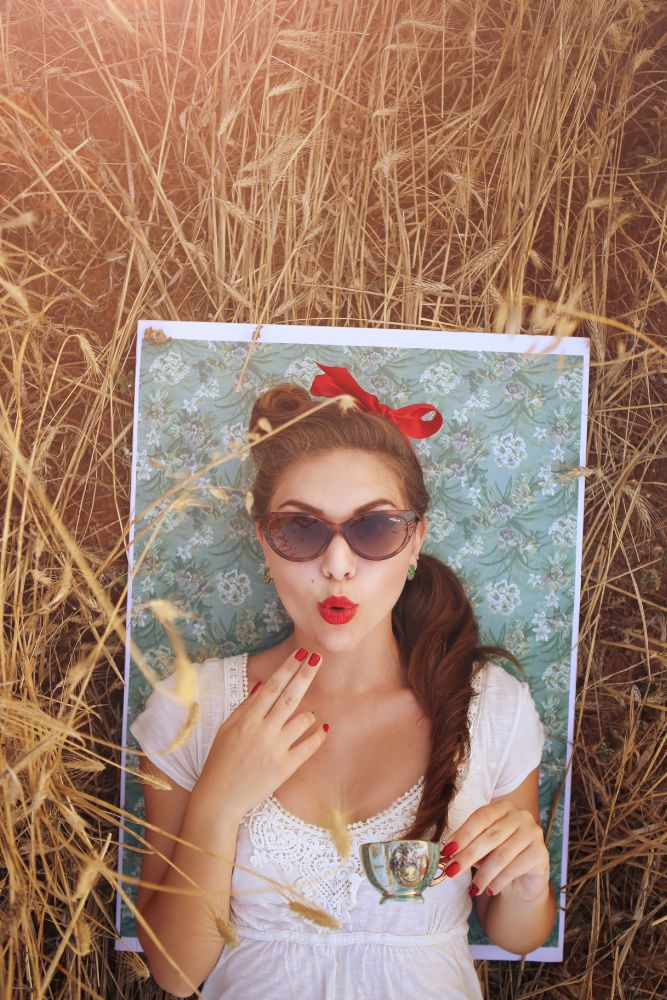 Photo in Portrait #vintage #portrait #pin-up #flower #pattern #glasses #hairstyle