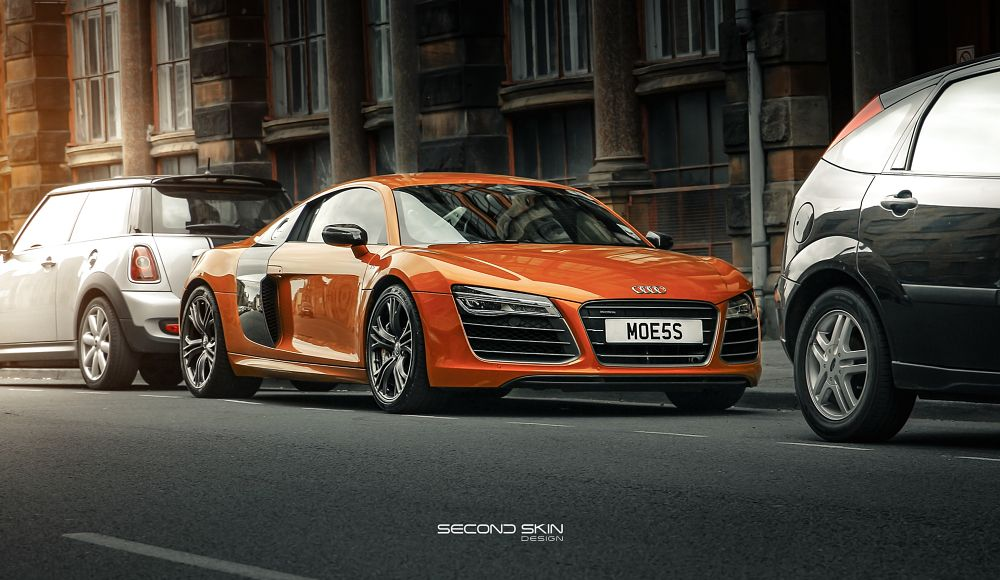 Photo in Street Photography #audi #car #r8 #street #road #german #europe #naseer #orange #retouch #retouching