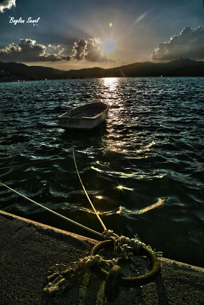 Photo in Sea and Sand #sunset #boat #sea