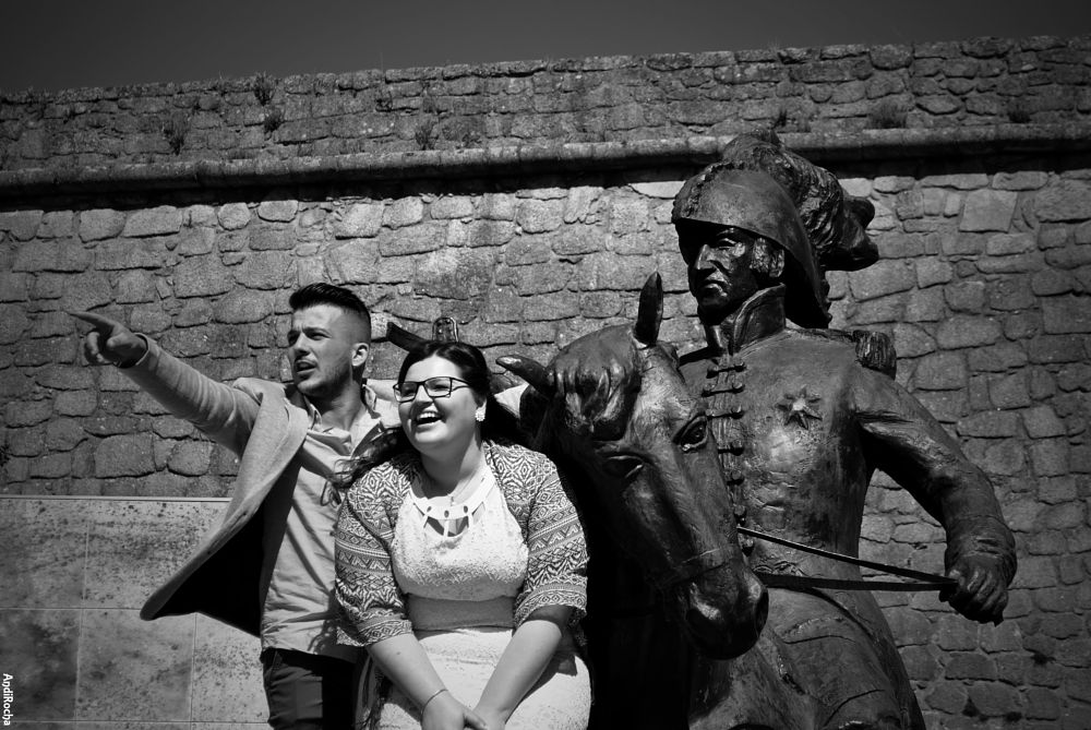 Photo in Black and White #statue #lady #man #batle #castle