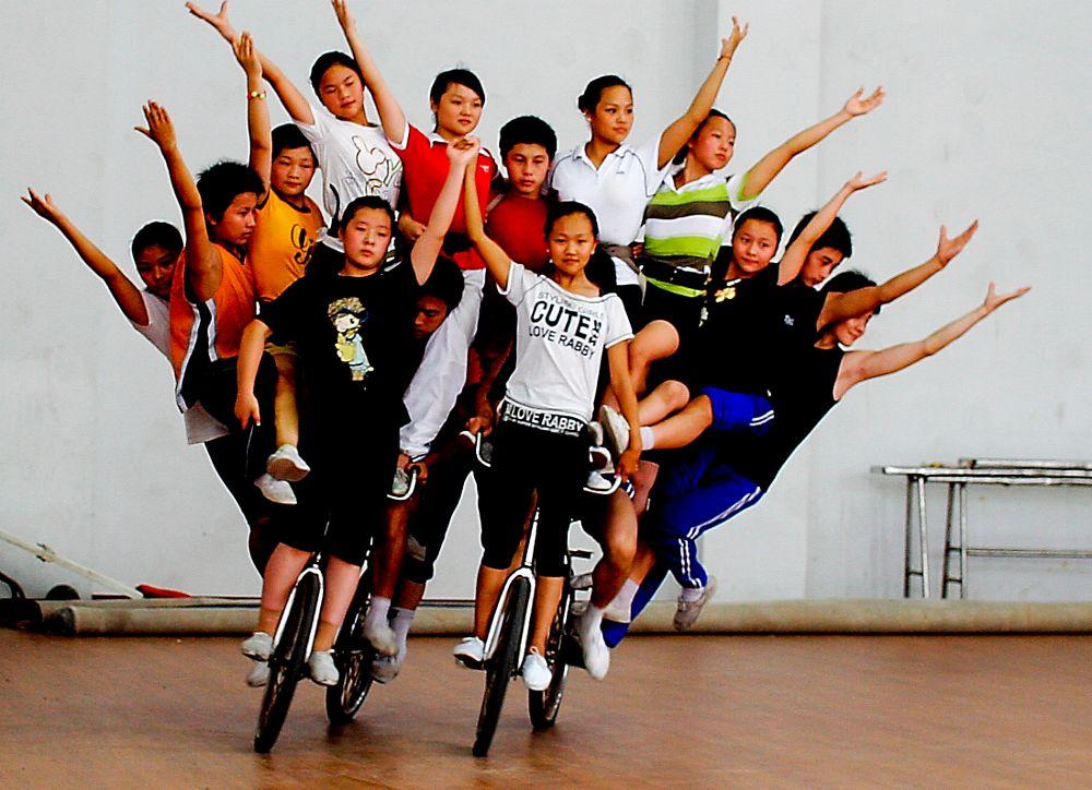 Photo in Random #rehearsel #circus #training #bicycle #acrobats