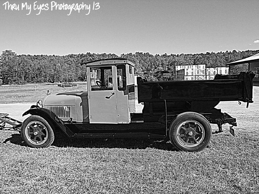 Photo in Random #old truck #restored #black and white #lumber yard #random #vehicles
