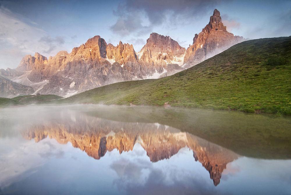 Photo in Landscape #davide azzetti #moments of dolomites #dolomites #dolomiti #sunset #tramonto #trentino alto adige #reflection #baita segantini #pale di san martino