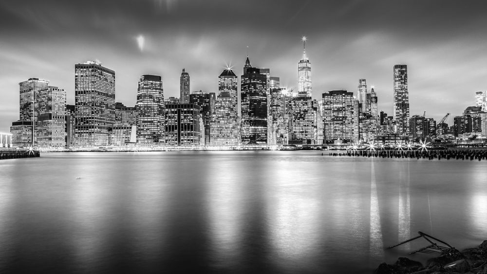 Photo in Black and White #skylines #new york #brooklyn bridge park #manhattan #financial district #nyc #new york city #cityscape #dusk #sunset #skyline #skyscraper #waterfront #usa #hameeds #cloudy